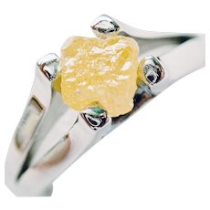 DIAMOND ROUGH Fancy Intense Yellow CRYSTAL, 1.98ct. Designer Ring