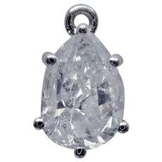 DIAMOND 1.78 Carat Pear Shape in Platinum/Iridium 90/10 Pendant Mounting