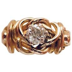 DIAMOND .69ct. Brilliant Cut in BRAIDED Gold Ring.