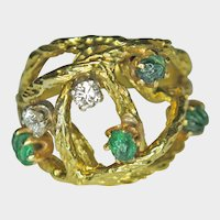 Carved Emerald and Diamond, 1960s Style, 18K Gold Ring