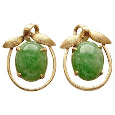 Jadeite (Natural) Cabochon Earrings In 14K Gold w/Push-Backs