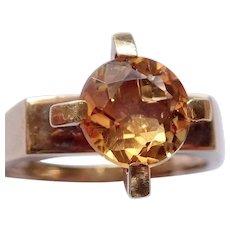 """Golden Citrine """"1960s"""" 14K Ring"""
