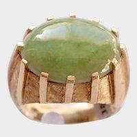 JADEITE CABOCHON 8ct. Deco Style Ring (Natural Untreated Jadeite) w/Certificate