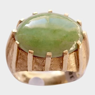 JADEITE CABOCHON 8ct. Deco Style Ring (Natural Untreated Jadeite) w/Certificate