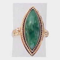 JADEITE GEM Marquise Ring, Natural Certified & Beautiful