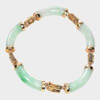 White and Green Jadeite, 14K Gold Bracelet