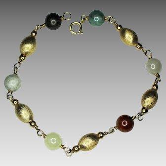 Multi-Color Round Jadeite Bead, 14K Gold Melon Shaped Bead, 14K Gold Bracelet