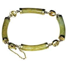 Greenish Yellow Jadeite (Segmented), 14K Gold Bracelet