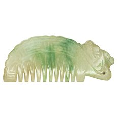 Carved White and Green Jadeite Bear Comb