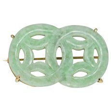 Jadeite Double Circle 14K Gold Pin
