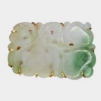 """Jadeite Flower White and Green """"Natural"""", 14K Gold Pin Rectangle"""