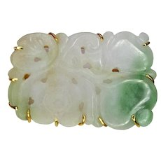 White and Green Jadeite Flower, 14K Gold Pin
