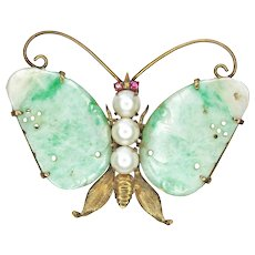 Jadeite Winged (Green and White), 14K Gold and Pearl Butterfly Pin with Ruby Eyes