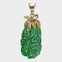 JADEITE GREEN Flower Carving, 14K Gold Pendant, NATURAL Certified