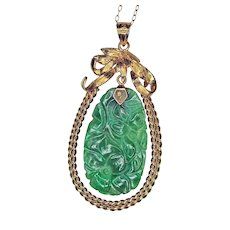 Green Jadeite Flower, 14K Gold Pendant and Chain