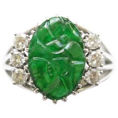 Carved Gem Quality Jadeite 14K White Gold Ring with Diamond Side Stones