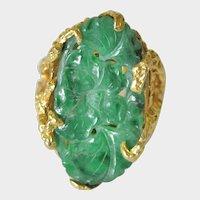 JADEITE Carved Oval Ring, NATURAL Color, Antique Jadeite