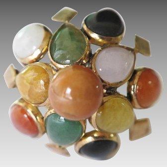 Multi-Color Jadeite Cabochons, 14K Gold Ring