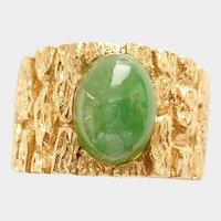 Jadeite Cabochon 14K Ring (Natural), 15.9 grams.