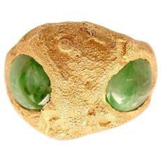 JADEITE ALIEN 2 Stone Gold Ring, Certified Natural Jadeite