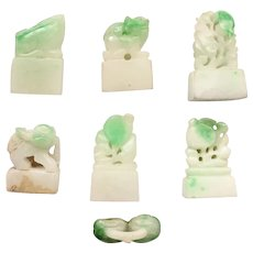 JADEITE Chop Collection, 7 pcs. Natural Certified, Burma Jadeite