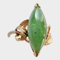JADEITE Gem Marquise Cabochon Set in Handmade Ring, 100% Natural.