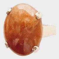 JADEITE, Bright ORANGY Brownish (Natural Certed) Cabochon, 14K RING