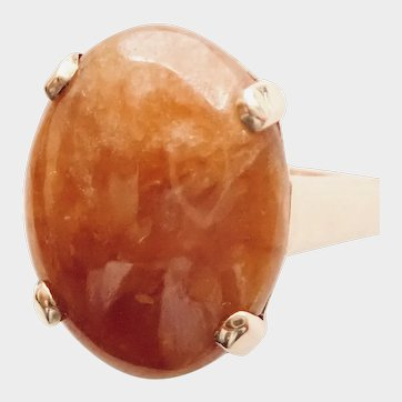 JADEITE, Bright ORANGY Brownish (Natural Certed) Cabochon, 14K RING