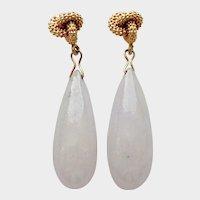Jadeite White Briolette Earrings & 14K Gold