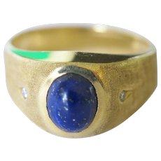 Lapis Lazuli Cabochon, 14K Ring w/ White, Round Brilliant, Natural Diamond Side Stones