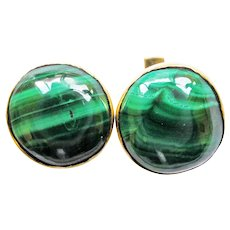 Malachite 14K Gold Round Cufflinks