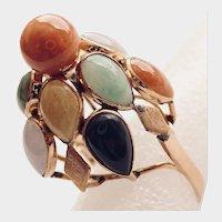 "Multi-Color Jadeite Cabochons, 14K Gold Ring, ""Celebration Happy Ring"""