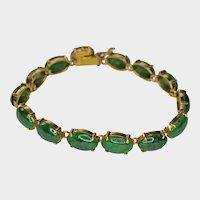 Nephrite Matching Ovals Cabochons 14K Gold Bracelet