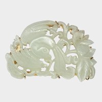 Nephrite Bird-Flower 14K Gold Pin