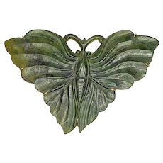 Nephrite Butterfly Antique 14K Gold Pin