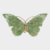 Dark Green Nephrite Winged, 14K Gold Butterfly Pin
