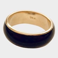 JADE/Nephrite Gold 14K Band, Dark Greenish Black Jade
