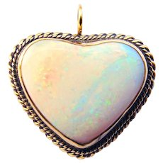 Opal Heart, 14K Gold Pendant/Pin