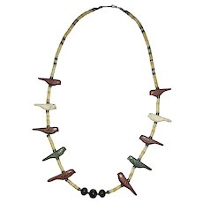 Handmade Bird Fetish Necklace with Sterling Silver Beads and Antique Mother of Pearl Discs