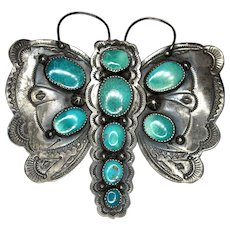 Turquoise Cabochons & Sterling Silver (925) Butterfly Pin