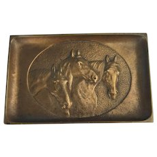 Vintage Bronze Paper Weight / Tray with Horse Heads