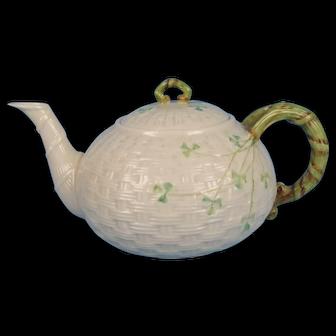 Belleek Basket Weave with Shamrocks Tea Pot Green Mark