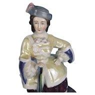"Victorian Fairing Tobacco Jar ""Highland Lady with Rifle"" Glazed Porcelain"