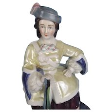 "Victorian Fairing Tobacco Jar ""Highland Lady with Rifle"" Glazed Porcelain"