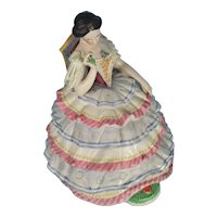 """Victorian Fairing Ink Well """"Seated Lady"""" Glazed Porcelain"""