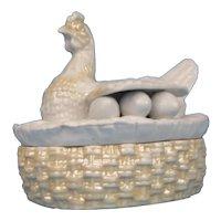 Hen on Nest Hand Pressed Glazed Porcelain Antique