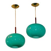 Pair of Turquoise Glass Pendants by Prescolite