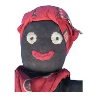 Black Cloth Doll Folk Art Made from Stockinette Hosiery