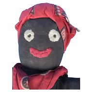 Black Cloth Doll Folk Art Made from Stockinette Hosiery