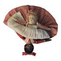 Bruckner Cloth Topsy Turvy Doll Antique Tagged